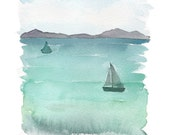 "Giclee watercolor print. Sailboat landcape 8""X10"""