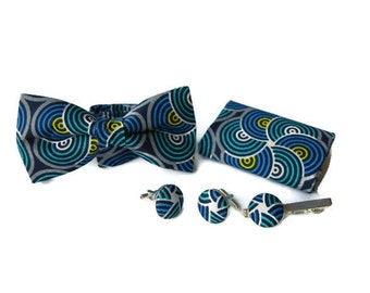 Adjustable bow tie, pocket square, tie clip, suspenders and cuff link sets - Blue prints fabric/gifts for him