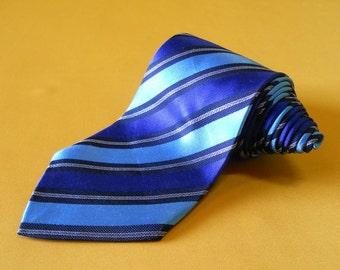 Paul Smith Tie Pure Silk Stripe Pattern Blue Vintage Designer Dress Necktie Made In Italy (26/12)