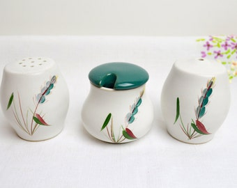 1950s stoneware handpainted cruet set in greenwheat by denby