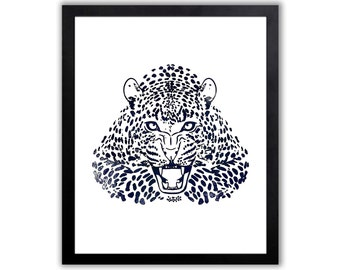 Navy Blue Animal Wall Art, Leopard Painting, Watercolor Wildlife Art, Limited Edition Art Print - BC017