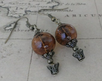 brown striped Hot Air Balloon necklace - steampunk antique victoriana jewellery