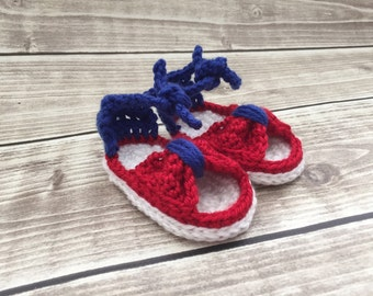 Baby sandals, 4th of July shoes, patriotic baby shoes, crochet baby sandals, handmade baby shoes, gift for baby