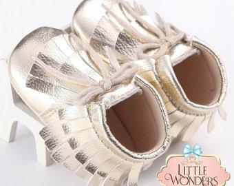 Baby Girl Soft Sole Gold Fringe Moccasins Boots