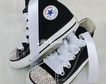 Infant & Toddlers Swarovski Rhinestone Black Converse