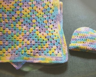 Cotton Candy Baby Blanket and Newborn Cap