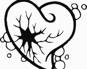 Broken heart embroidery design 7x5