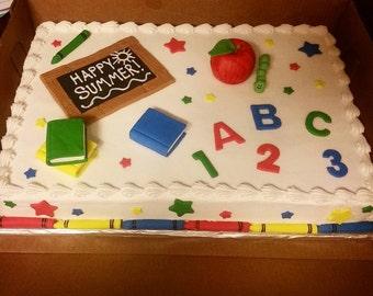 Handmade Edible Fondant Teacher School Cake Topper Set