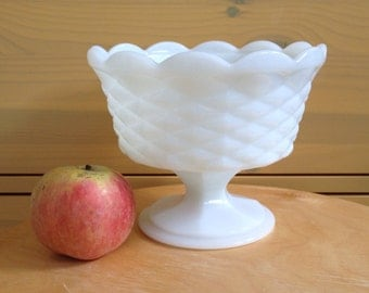 Vintage Milk Glass Pedestal Compote Dish Diamond Footed Basketweave