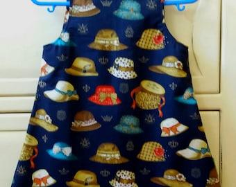 Baby dress, pinafore, girls dress, summer dress, cotton dress, vintage hats, Rose &   Hubble. Christening,naming day gift. Age 9-12 months