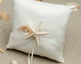 Beach Wedding Ring Bearer Pillow with Starfish and Seashells