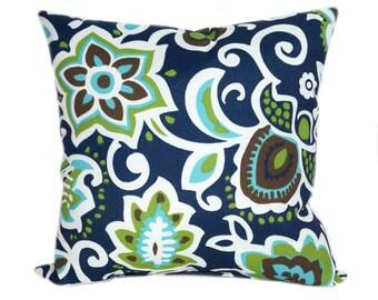 Floral Outdoor Pillow Cover, Navy Green Aqua Pillow Cover, Faxon Oxford Navy Outdoor Pillow Case, Floral Patio Throw Pillow, Floral Cushion