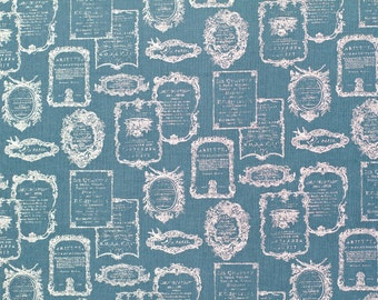 Sale Trefle for Kokka Navy/Teal with Metallic French Text Print Fat Quarter OOP HTF Cotton Linen Blend