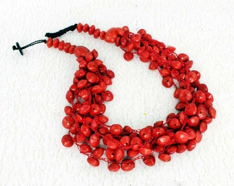 Red Bead Necklace - Crochet Jewelry - Eco Friendly Gift Ideas for Women - Crochet Necklace - Nature Jewelry - Organic Jewelry  1510