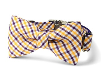 LSU Tigers Bow Tie Dog Collar, Purple and Gold Gingham Dog Collar, LSU Dog Collar, Preppy Dog Collar, LSU Bow Tie Dog Collar