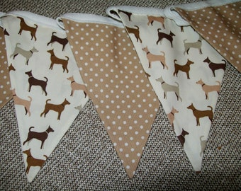 Beautiful Cotton Double Sided Bunting - Dogs and Polka Dots in browns/Tans - Kitchen, Grooming Parlour