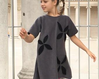 Girls grey fleece dress