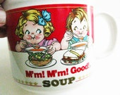 Vintage Campbell Soup Mug 1989 Campbell Kids Soup Mug Campbell Advertising Mug Westwood International Campbell's Red and White Label Mug