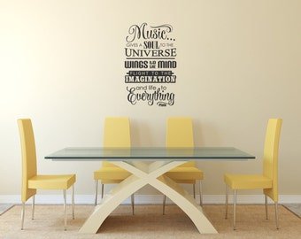 Music gives soul to the Universe Plato quote vinyl wall art sticker inpirational saying