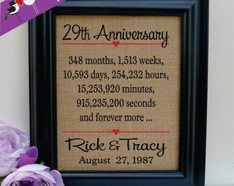 29th anniversary 29th wedding anniversary gift 29th anniversary gift ...