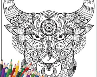 SALE 65% OFF Printable Adult Colouring Page : Animal Bull Design - Digital Illustration, Line Art Drawing Colouring Book