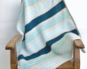 Handmade Baby Blanket. Crochet Baby Blanket. Striped Baby Blanket. Toddler Blanket. Crib Blanket. Crochet Blanket. Lap Blanket. Blue Blanket
