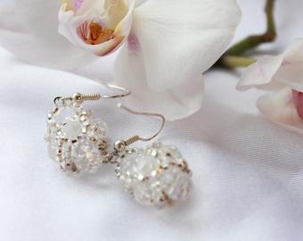 Crystal Dangle Earrings Seed Bead Earrings Trending Earrings Spring Birthday Bridesmaid Gift Red earrings Blue earrings Bead woven Earrings