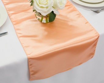Peach Satin Table Runner | Wedding Table Runners