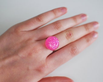 Pink Glitter Ring