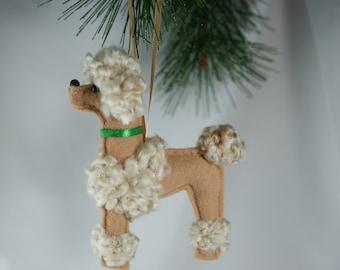 felt poodle ornament, apricot poodle ornament, handmade felt ornament