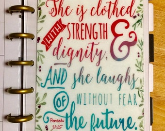 DASHBOARD Proverbs *Clothed in Strength* Quote Double Sided for use with the MINI Happy Planner