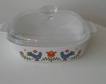 Corelle Country Festival Blue Birds Casserole Dish With Lid