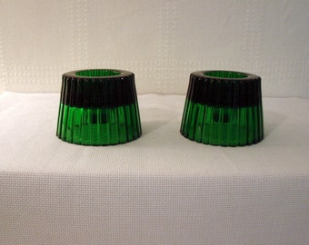 Pair of Dark Green Candle Holders