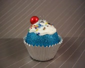 Christmas Ornament, Cupcake Ornament, Blue Christmas Ornament, Cupcakes, Christmas Tree Ornament, Sparkly Ornament, Glitter Ornament