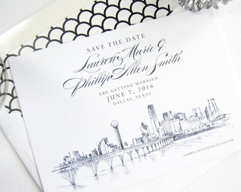 Dallas Skyline Save the Dates, Save the Date, Save the Date Cards, Dallas Wedding, Dallas Invitation, Card(set of 25 cards and envelopes)