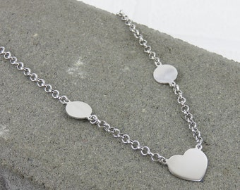 Silver Heart & Disc Necklace - Free Engraving - Personalised