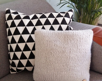 Pillow gray chunky knit with wooden button - small cushion
