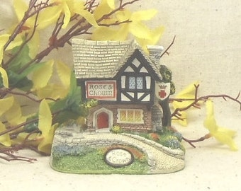 """Vintage Memory Lane Cottages, by Peter Tomlins, Made in England,""""Rose and Crown"""", 1993 Naturecraft,Antique Collectible, #VB7096"""