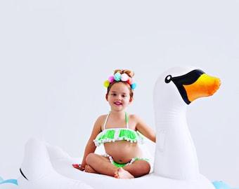Girls bikini cotton pom pom trim swimwear frilly ruffle bikini colorful fluorescent handpainted