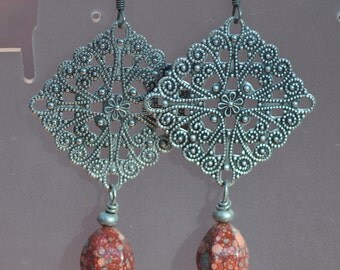 Antique Silver and Picasso Finish Red Earrings