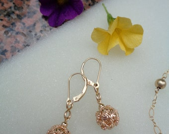 Gold Earrings with beautiful ornament ball, 585 gold filled