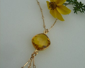 Gold chain, 585 goldfilled-with beautiful citrine quartz