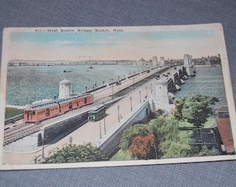 West Boston Bridge Vintage Postcard ~ Circa 1924