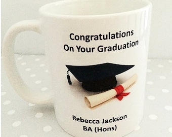 Graduation Mug, Gift, University, Degree, Well Done, Personalised Message Birthday mug or Christmas Gift. Great secret santa gift.