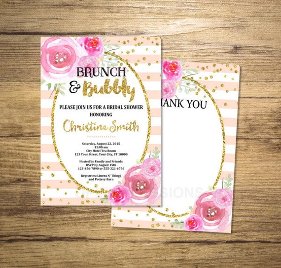 Brunch And Bubbly Bridal Shower Invitation, Watercolor