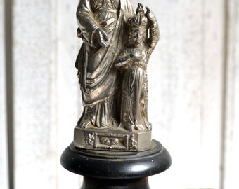 French Antique Metal Infant Virgin Mary & Saint Anne Crowned Statue