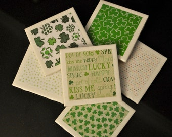 St Patrick's Day Coasters - Tile Coasters - Coasters - Holiday Coasters - Luck Coasters - Shamrock Coasters - Irish Coasters