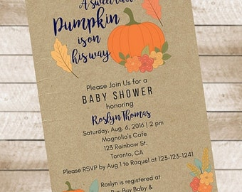 A Sweet Little Pumpkin is on His Way Autumn Fall Baby Shower Invitation Printable