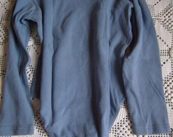 VTG Body woman collar, stretch denim, long-sleeved, body/pull minimalist blue denim 80 s,.