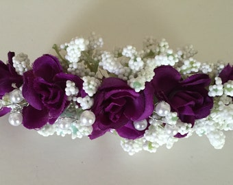 Purple Hair Barrette, Wedding Barrette, Prom, Homecoming Barrettes